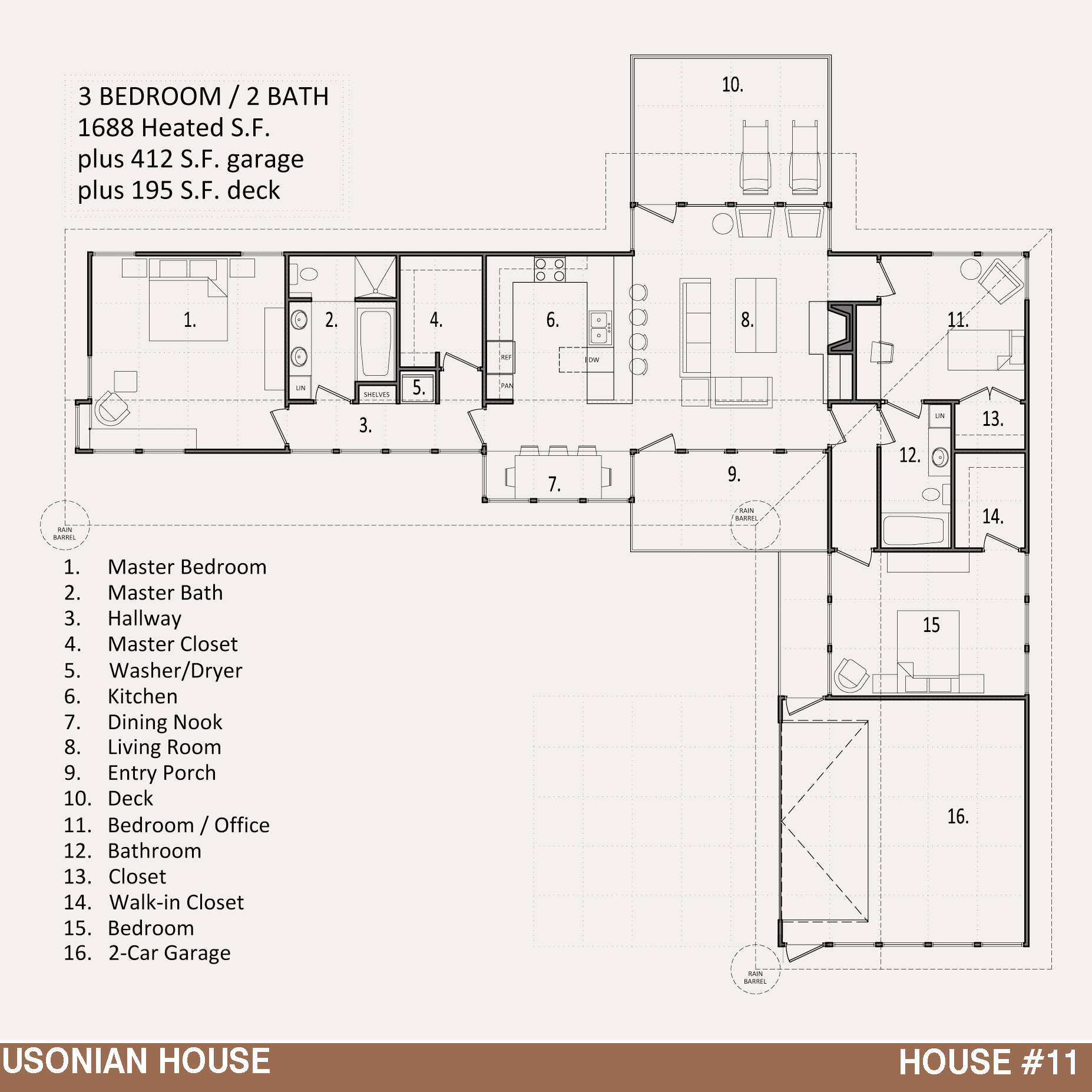 House 11 the usonian house jody brown architecture pllc for Blueprint house plans